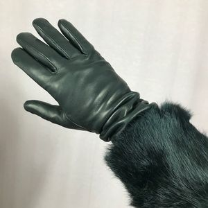 Black Leather and Rabbit Fur Long Gloves